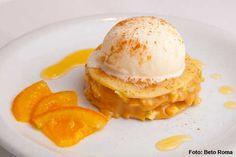 Garden - Sonho de leite  Panquecas com recheio de doce de leite com laranja, acompanhadas de sorvete de baunilha e calda de Cointreau (jantar)