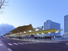 Porch, general view. Intermodal Interchange at Saint Nazaire, by Tetrarc Architects. Photography © Stéphane Chalmeau. Click above to see lar...
