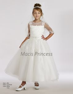 Stunning Macis Couture Girls 1st Communion Lace Dress 1860 is perfect for her communion. Beautiful vintage communion dress will create lifetime memories.