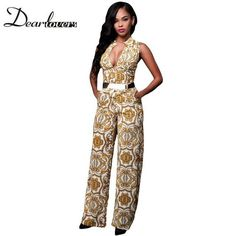 8ac96571c7e Dear lover Elegant Office Jumpsuit Long White Yellow Tapestry Print Belted  Overalls For Women Mono Lujer