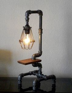Industrial Table Lamp with Pipes