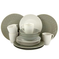 Elama Olive Terrace Ivory/ Service for 4 Dinnerware Set