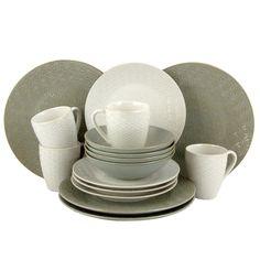 Elama Olive Terrace Ivory/ Service for 4 Dinnerware Set