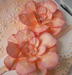 step by step instructions on making these flowers for cards