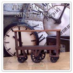 Vintage industrial Factory Utility Cart ~ 1:12 Scale Dollhouse Miniature - $30