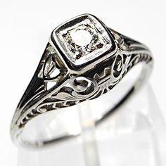 Antique Filigree Diamond Engagement Ring Solid 18K White Gold