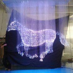 2016 3D effect fiber optic crystal light chandelier with horse design, 3D horse
