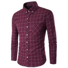 Grid Long Sleeve Button-Down Shirt