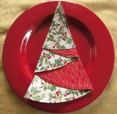 Isn't this idea for Christmas tree napkins adorable?