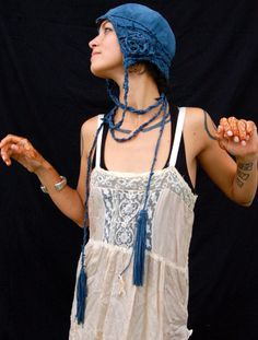Twixt Piety and Desire Blue Suede Cloche By Joy Patterson