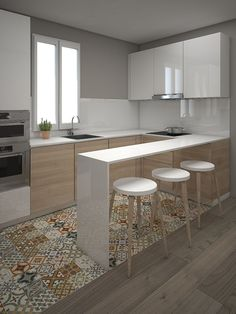 Small, functional, neat, contemporary kitchen.