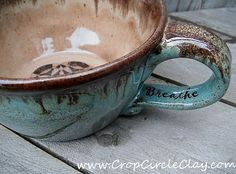 BREATHE Over-sized Coffee Mug, Wheel Thrown by CropCircleClay...Ready To Ship Gift!