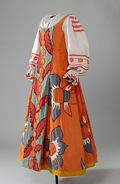 BALLET RUSSES – Le Coq d'Or [The Golden Cockrel]; Natalia GONCHAROVA (designer Russia 1881 – France 1962), Costume for a peasant woman c.1937  dress and blouse: cotton, wool, metal fasteners, linen, paint. National Gallery of Australia, Canberra