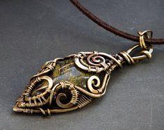 Elven pendant, Elven necklace, Elven jewelry, Elven wire pendant, Elven wire jewelry, Brass pendant, Jespilite necklace, Jespilite wire wrap