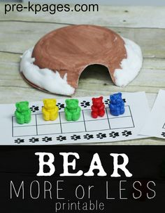Bear more or less math activity for your preschool, pre-k, or kindergarten classroom. Fun, hands-on counting and comparison game for a bear or winter theme. Numbers Preschool, Math Numbers, Kindergarten Math, Fun Math, Math Games, Math Activities, Preschool Activities, Decomposing Numbers, Winter Activities