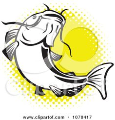 Clipart Catfish Over Yellow Halftone - Royalty Free Vector Illustration by patrimonio Fishing Knots, Fishing Tips, Fishing Lures, Fly Fishing, Catfish Images, Catfish Tattoo, Fish Stencil, Cartoon Fish, Clip Art Pictures