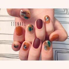 ▫️◽️⚪️▫️⚪️ #nail#art#nailart#ネイル#ネイルアート#nuance#マットネイル#brown#AW#水彩ネイル#ショートネイル#nailsalon#ネイルサロン#表参道##水彩ネイル111 #nuance111#AWnail111