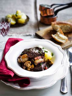 Australian Gourmet Traveller recipe for Boeuf Bourguignon. Wine Recipes, Beef Recipes, Cooking Recipes, Recipes Dinner, Gourmet Cooking, Slow Cooking, Bourguignon Recipe, Bistro Food, Recipe Images