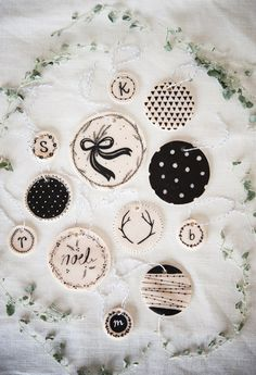 Top 10 DIY Clay Ornaments - I love these black and white clay ornaments. Black and gold/silver would be pretty too