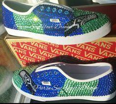 Seattle Seahawk Rhinestone Converse Shoes