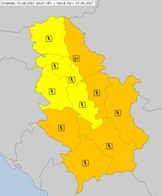 Serbia - 07. June 2017. For detail see www.meteoalarm.rs and www.meteoalarm.eu : Heavy Rain/showers - at least 20 mm (l/m²) within a 3-hour period IMPACT: Causing flooding, problems in all agricultural production activities, traffic problems, possible risk of landslides and mudslides. Indirect impact on the safety of people and animals.