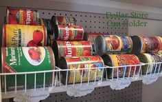 $1 Can Food Organization Use baskets for canned food stacking Dollar Store baskets are the best way to store canned foods in your pantry!