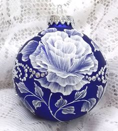 Royal Blue Hand Painted 3D Floral MUD Ornament with Bling 220 - SOLD!