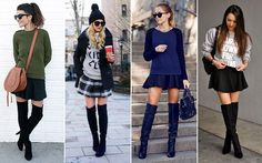 LOOKS - Over the knee boots with skirt