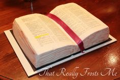 That Really Frosts Me: Sunday School Bible Cake Tutorial Fondant Cakes, Cupcake Cakes, Open Book Cakes, Comunion Cakes, Christian Cakes, Bible Cake, Religious Cakes, School Cake, Cake Templates