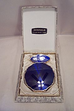 Stratton Gold Tone And Blue Enamel Compact Set