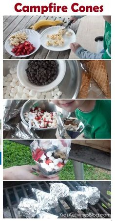 Campfire Cones - take a ice cream waffle cone. Fill with goodies like fruit, marshmallows and chocolate. Wrap with foil and grill for 5-7 mins while turning occasionally.