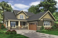 Craftsman Style House Plan - 3 Beds 2.5 Baths 2507 Sq/Ft Plan #48-267 Exterior - Front Elevation - Houseplans.com
