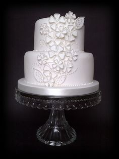 "Applique ""Dog Rose"" Wedding Cake.  Simple but pretty"