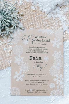 Winter Wonderland 1st Birthday Party Invitations