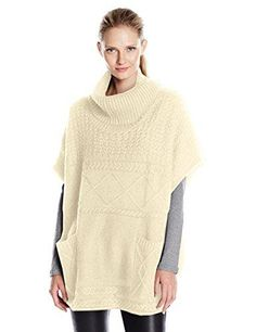 Colour Works Womens Turtle Neck Poncho with Cable Stitches Cream Large -- Amazon most trusted e-retailer  #PulloverSweaters