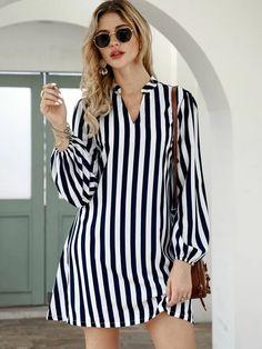 To find out about the Notched Collar Vertical Stripe Shirt Dress at SHEIN, part of our latest Dresses ready to shop online today! Simple Dresses, Dresses With Sleeves, 15 Dresses, Short Dresses, Striped Shirt Dress, Online Dress Shopping, Smock Dress, The Dress, Dress P