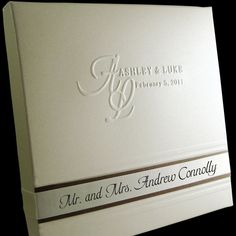 Boxed Couture Invitation -  Classic Elegant Wedding Invitation  -  Chocolate Brown  -  Ivory - Cream  -  Mocha - Latte -   Set of 100