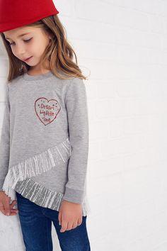 Gri Tütü Etekli Kız Çocuk Sweatshirt TRENDYOLKIDS | Trendyol