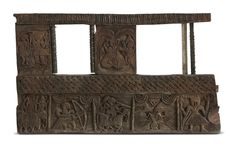 This window made of teak wood is from #HimachalPradesh, known for its homes made in stone and wood. This one has low relief carving with various scenes.. This is seen from level 3 and 4, around the artwork, #Touche by #RajeevSethi, #ca18th19thCentury