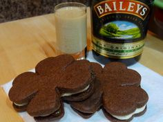 Chocolate Shamrock Sandwich Cookies with Bailey's Vanilla Creme and Whiskey Caramel