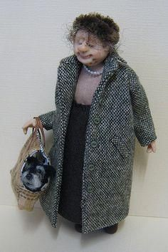 """Old Dear"" 1:12 doll by Joy Cox of Adora Bella Minis.  (A Google search also turned up adorabellaminis.bigcartel.com/products, which links to her site.)"