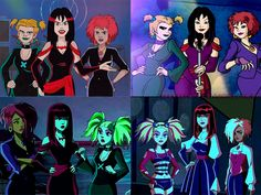 Alternative Girl Groups in Cartoons Hex Girls Luna Thorn Dush Cloud Tower Witches Trix Icy Stormy Darcy Cartoon Icons, Cartoon Art, Cartoon Characters, Desenho Scooby Doo, Scooby Doo Memes, Scooby Doo Mystery Incorporated, Hex Girls, Character Art, Character Design