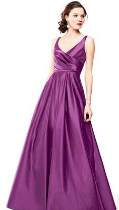 Long Satin Tank Ball Gown Style F15741 #davidsbridal #purpleweddings #bridesmaiddress