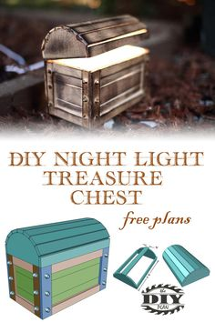 Want to make your own unique night light for your kids bedroom? Check out this awesome DIY glowing night light treasure chest. Free printable PDF and step by step tutorial available on our website. #diywoodworking #woodworkingplans #diyhomeprojects #buildityourself #woodworkingideas #diynightlight #diylight #bedroomlight #bedroomideas