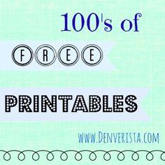 100's of Free Printables ~ www.Denverista.com