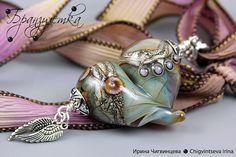 glass heart by Branzuletka Beaded Rings, Beaded Jewelry, Beaded Necklace, Glass Jewelry, Glass Beads, Lampwork Beads, Bead Art, Diys, Pendants