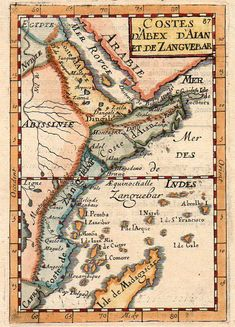 Beautiful Mallet mao of East Africa from Somali, Kenya to Tanzania.First edition from Mallet's Description De L'Univers. Vintage Maps, Antique Maps, Kenya, Michael Jennings, German East Africa, Horn Of Africa, British Indian Ocean Territory, Egypt Art, Paris Map