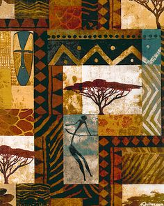 'Savannah Plain Patch' by the Keith Mallett Studio, Inc. for Springs. African Quilts, African Textiles, Arte Tribal, Tribal Art, African Art Paintings, Madhubani Painting, Africa Art, African American Art, African Design