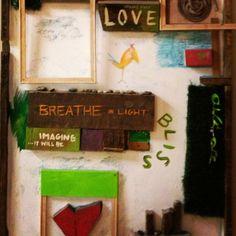 Studio Art made by Jenny, Bobby, & Aileen #madewithlove #collage #handmade #studiolove #imagine #yogaart #rayoga RaYoga.com