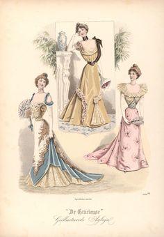 Evening dresses, 1899 the Netherlands, De Gracieuse 1890s Fashion, Edwardian Fashion, Vintage Fashion, Moda Vintage, Vintage Mode, Historical Costume, Historical Clothing, 1800s Clothing, Golf Clothing